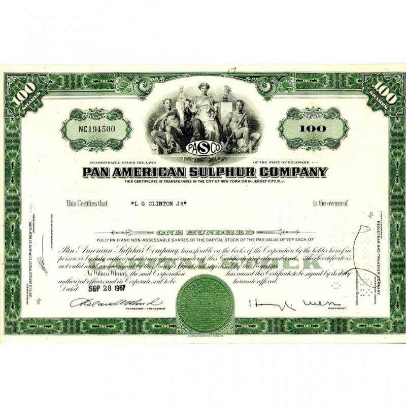 Pan American Sulphur Company capital stock certificate ...